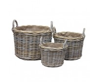 Handcrafted Round Rattan Storage Baskets with Ear Handles & Removable Hessian Liner